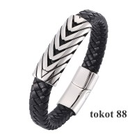 Gelang Titanium Menenun Kulit Magnetic Gelang pria/wanita Bracelet 1 - 185mm