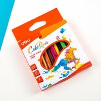 Deli Pensil Warna 12 Warna Pegangan berbentuk Segitiga EC09900