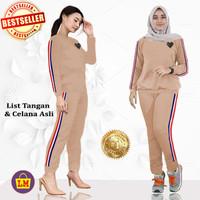 LM 56015 Baju Setelan Training Play Baju setelan Senam Wanita XL