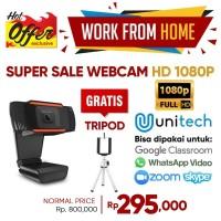 Webcam Unitech USB 1080P HD Kamera Auto Fokus dengan Microphone