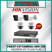 PAKET 4 IP CAMERA POE HIKVISION 2MP+HDD 1TB LENGKAP SIAP PASANG