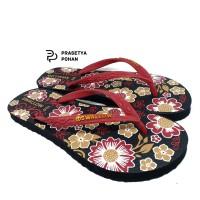 Sandal Jepit Wanita Swallow Bunga Merah - Sendal Anti Air