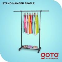 Stand Hanger Maden Single Rak Serbaguna dengan 4 Roda - Hitam