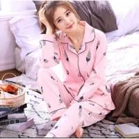 Baju Tidur Piyama Kerah Panjang Kaos Impor Wanita Dewasa Feather Pink