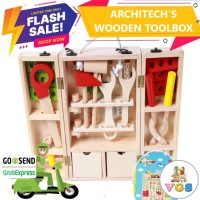 Mainan Anak Architect's Wooden Toolbox / Alat Pertukangan 20 pcs