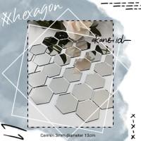 Cermin Hexagonal 13cm (asli kaca)