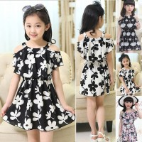 Summer Kids Chiffon Sling Flower Korean Princess Dress Skirt Girl