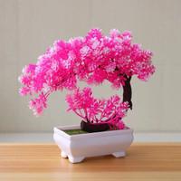 Bunga Plastik Tanaman Hias Pajangan pot Dekorasi pohon Bonsai Sabit - Merah Muda