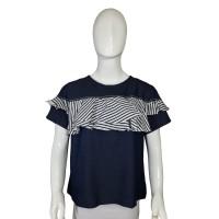 Atasan Blouse Wanita Velasco Navy Ruffle Striped Shirt