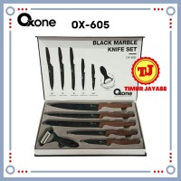Oxone OX-605 Pisau Dapur Black Marble Knife Set