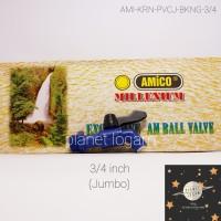 Kran / Keran Air PVC Jumbo Bola dan As Kuningan Uk. 3/4 [AMICO]