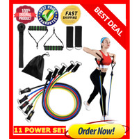 11 IN 1 RESISTANCE BAND SET FITNESS GYM STRETCHING PILATES YOGA STRECH