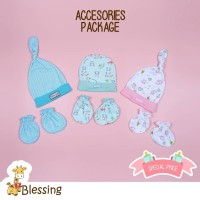 Blessing babywear-Topi bayi dan STK-mix motif-warna dan model-Isi 3set