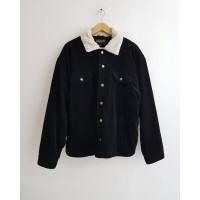 Jaket Mantel Coat Bulu Corduroy Import Winter Gunung Pria Hitam XL