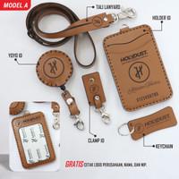 Custom ID Card holder kulit dan yoyo id name tag kulit asli