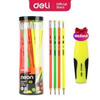 Deli EU51806 Grafit Pensil Kayu 50 Pcs/Tube 4 Warna dengan penghapus