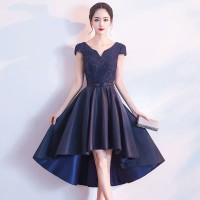 midi dress gaun pesta gaun dress wanita navy korea