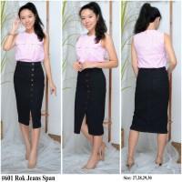 Rok Fashion Jeans Wanita Rok Hitam Cewek Skinny Size 27-30 601