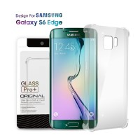 Premium Soft Case Samsung Galaxy S6 Edge Clear - Anti Crack Glass Pro