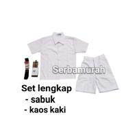 set lengkap seragam sekolah baju polos pendek celana pendek putih