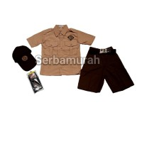 setelan baju seragam pramuka lengan pendek celana pendek set lengkap