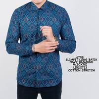 Kemeja Batik Pria Lengan Panjang Kemeja Batik Slimfit Kerja Kantoran - Biru, M