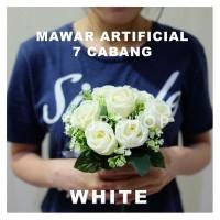 ARTIFICIAL ROSE BUKET BUNGA MAWAR PALSU DEKORASI PREMIUM FLOWER WHITE
