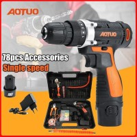 Aotuo Bor Cordless Power Drills Kit Electric Screwdriver - Mesin Bor
