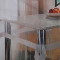 Taplak Meja Makan bulat persegi MEIWA plastik transparan tebal