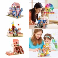 PE Mainan Puzzle Jigsaw Kartun Istana 3D untuk Edukasi Anak