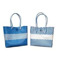 Kiarra Bag KECIL- Tas Anyam Plastik, Tas Belanja , Recycled Bag- Biru