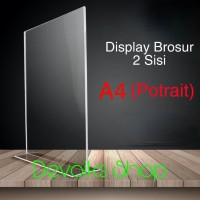 TEMPAT BROSUR / TENT HOLDER / TENT CARD AKRILIK DISPLAY 2 SISI A4