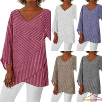 Womens Baggy Blouse Long Sleeve Striped Summer Tunic Beauty