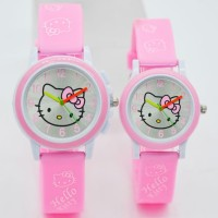 Promo Jam Tangan Fashion Anak Hello Kitty Tali Karet Pink Muda Diskon