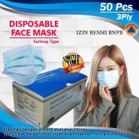 Masker 3Ply Medis Bedah 3 Ply Disposable Surgical Earloop (harga/box)