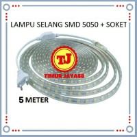 Lampu LED Strip Selang SMD 5050 5M + Soket 220v 5 M METER Outdoor