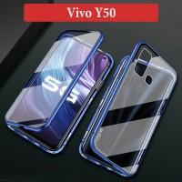Vivo Y50 Flip Magnetic Glass Depan Belakang Case Casing Cover Clear