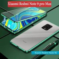 Xiaomi Redmi Note 9 pro Max Flip Magnetic Glass Depan Belakang Case