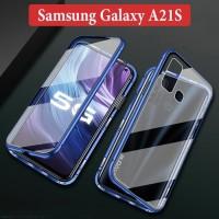 Samsung Galaxy A21S Flip Magnetic Glass Depan Belakang Case Casing
