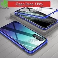 Oppo Reno 3 Pro Flip Magnetic Glass Depan Belakang Case Casing Cover