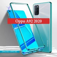 Oppo A92 2020 Flip Case Magnetic Glass Depan Belakang Casing Cover