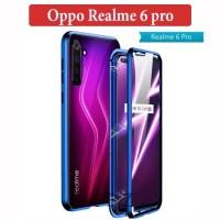 Oppo Realme 6 pro Flip Magnetic Glass Depan Belakang Case Casing Cover