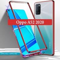 Oppo A52 2020 Flip Magnetic Glass Depan Belakang Case Casing Cover