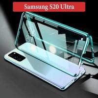 Samsung S20 Ultra Flip Magnetic Glass Depan Belakang Case Casing Cover