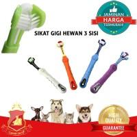 Sikat Gigi 3 Sisi Anjing Kucing Hewan / Pet Toothbrush 3 Headed Import