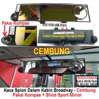 kaca spion dalam kabin mobil broadway cembung + kompas + blind sport