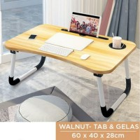 Meja Lipat Anak / Meja Laptop / Meja Belajar Online (Walnut) MEE DO - Cokelat