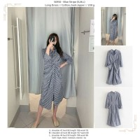 56956 - Blue Stripe (S,M,L) - Long Dress - S