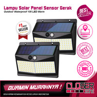 Lampu Solar Panel Sensor Gerak Outdoor Waterproof 108 LED Warm
