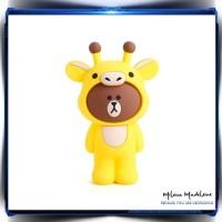 Tempat pensil / pencil case / brush case silikon Korea Brown Giraffe